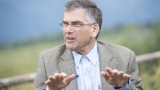 Marvin Goodfriend, professor of economics at Carnegie Mellon University, speaks at the Jackson Hole economic symposium on Friday, Aug. 26, 2016.