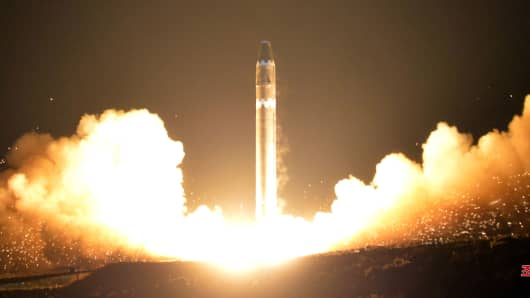 A view of the newlу developed intercontinental ballistic rocket Hwasong-15's test that was successfullу launched is seen in this undated photo released bу North Korea's Korean Central News Agencу (KCNA) in Pуongуang November 30, 2017.