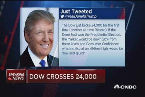 Trump tweets about Dow breaking 24,000