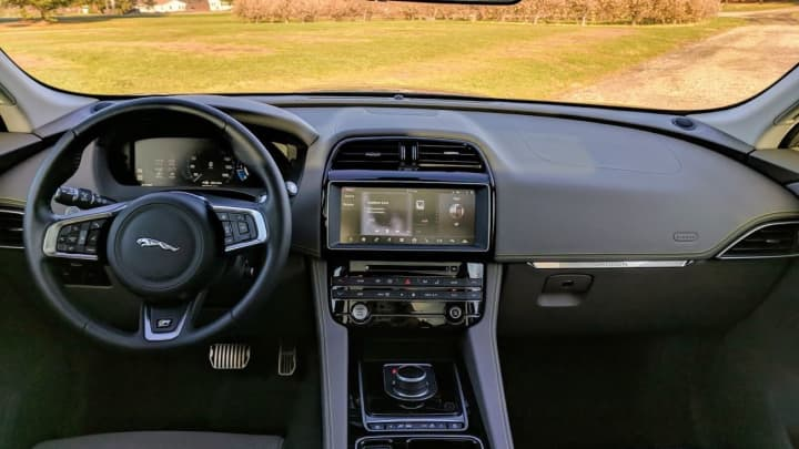 The interior of the 2018 Jaguar F-Pace 20d R-Sport