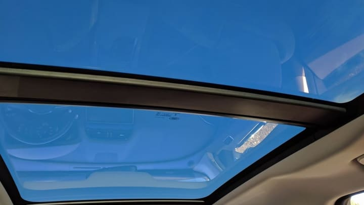 A huge panoramic sun-roof in the Jaguar F-Pace 20d R-Sport
