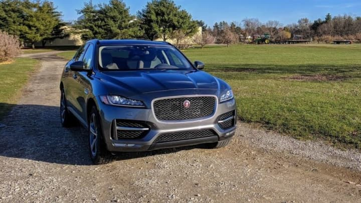 The Jaguar F-Pace 20d R-Sport from the front