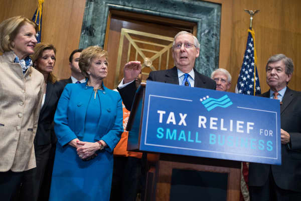 Senate Majority Leader Mitch McConnell, R-Ky., speaks during a news conference in Dirksen Building on the importance of passing the tax reform bill for small businesses on November 30, 2017.