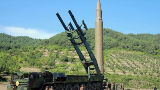 This photo released by North Korea's state news agency on July 6, 2017 shows an intercontinental ballistic missile that was launched July 4.