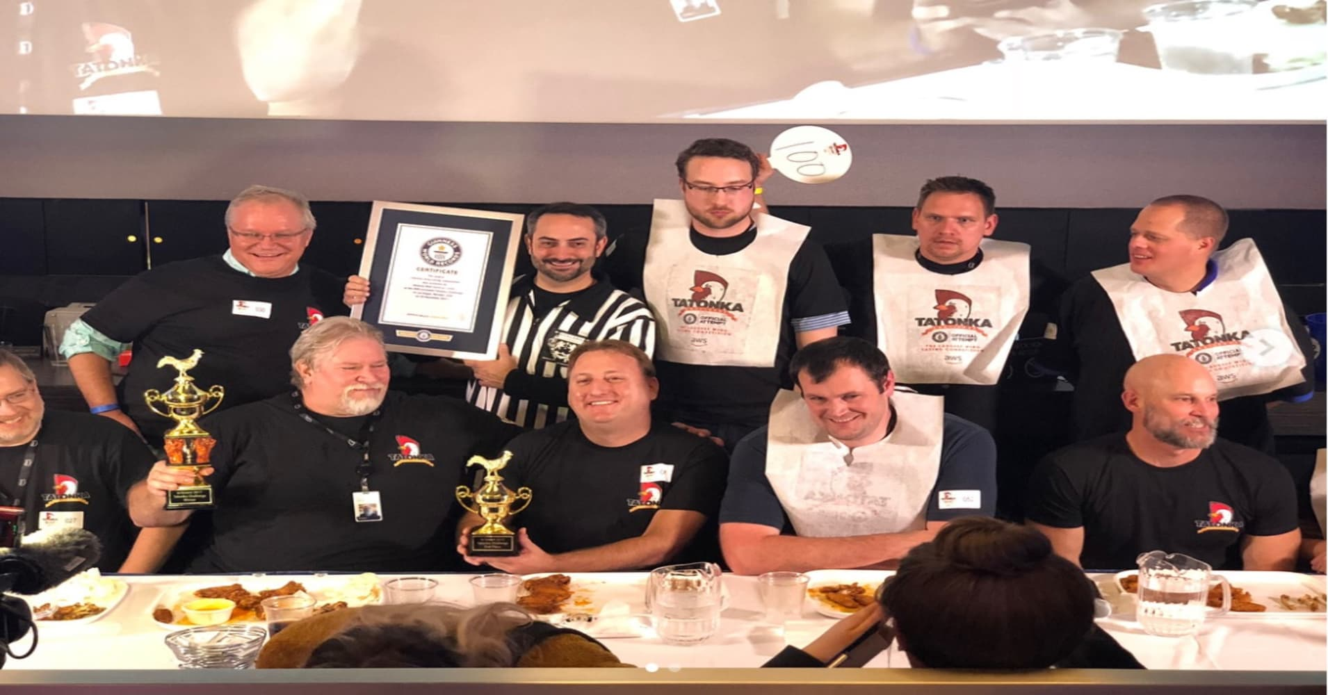 Jeff Bezos congratulates his Amazon team for winning a Guinness World Record in chicken-wing eating