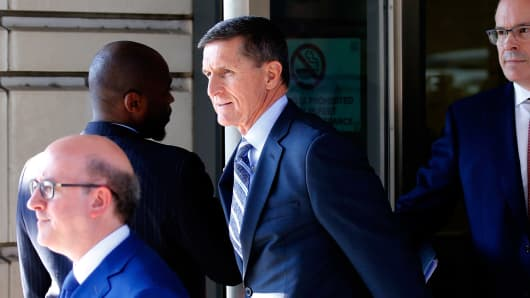 Former U.S. National Security Adviser Michael Flynn departs U.S. District Court, where he was expected to plead guilty to lying to the FBI about his contacts with Russia's ambassador to the United States, in Washington, U.S., December 1, 2017.