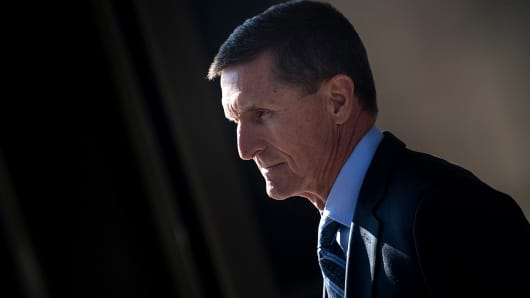 Gen. Michael Flynn, former national security adviser to US President Donald Trump, leaves Federal Court on December 1, 2017 in Washington, DC.