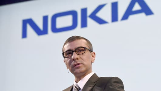 Nokia's Chief Executive Rajeev Suri during the press conference hold in Nokia head offices in Espoo.