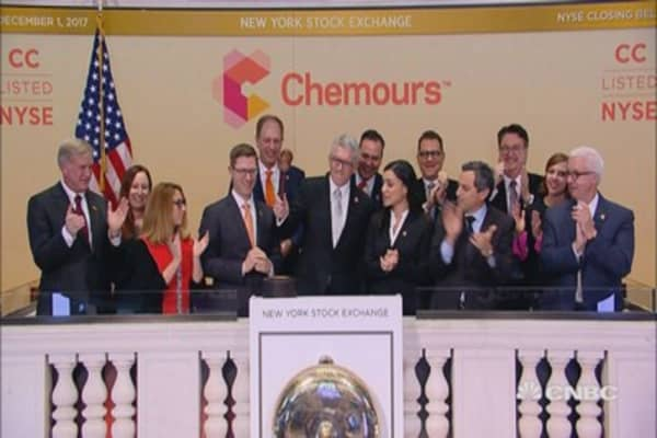 Chemours rings the closing bell at the New York Stock Exchange