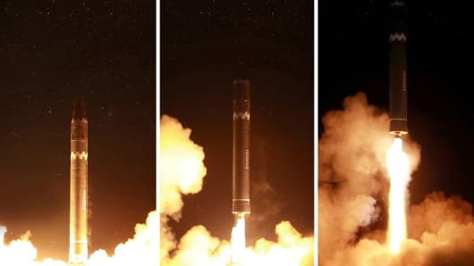 North Korea said the new missile reached an altitude of about 4,475 km (2,780 miles) - more than 10 times the height of the International Space Station - and flew 950 km (590 miles) during its 53-minute flight.