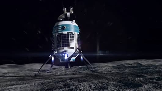 A rendering of Moon Express' Lunar Scout landing on the moon