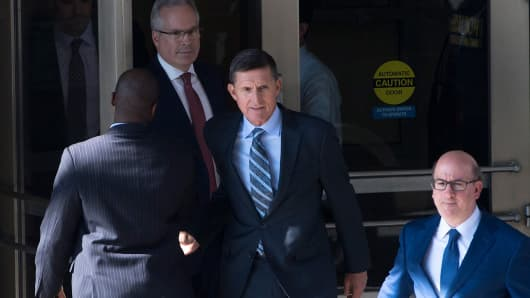 Gen. Michael Flynn, former national security adviser to US President Donald Trump leaves Federal Court in Washington DC