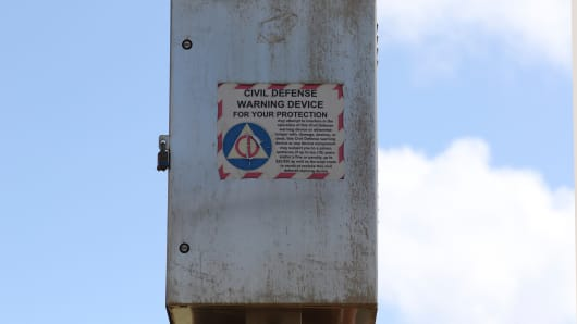 A Hawaii Civil Defense Warning Device, which sounds an alert siren during natural disasters, is shown in Honolulu on Wednesday, Nov. 29, 2017. The alert system is tested monthly, but on Friday Hawaii residents will hear a new tone designed to alert people of an impending nuclear attack by North Korea.