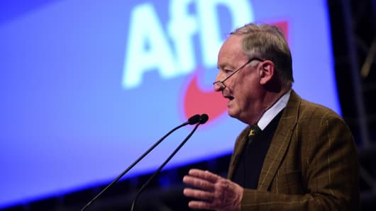Alexander Gauland of the right-wing Alternative for Germany (AfD) speaks during his election speech as co-chairman during the AfD federal congress at the Hannover Congress Centrum (HCC) on December 2, 2017 in Hanover, Germany.
