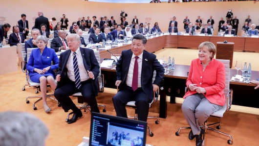 German Chancellor Angela Merkel, China's President Xi Jinping and U.S. President Donald Trump at the G20 meeting in Hamburg, Germany, on July 7, 2017.