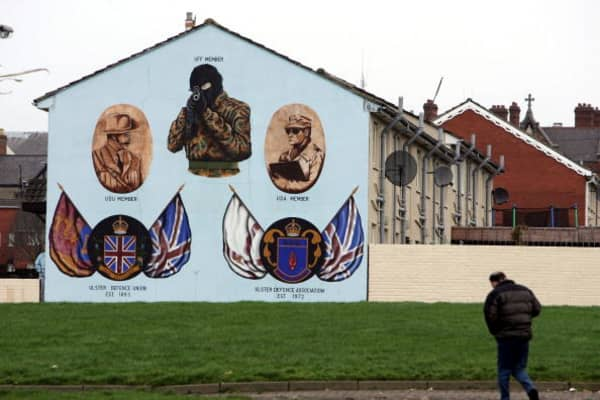 Ulster Defense Association murals are seen on February 9, 2005 in the loyalist Shankill area of West Belfast, Northern Ireland.