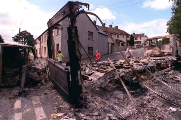 The scene in Newry after one of the worst nights of street violence for years when anger exploded after the Orange Order Drumcree parade went ahead (1997).