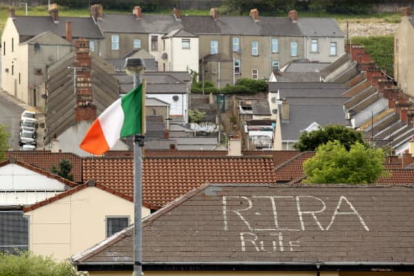 'RIRA' (Real Irish Republican Army) graffiti is seen in the Bogside area of Londonderry close to where the Bloody Sunday killings took place in 1972 on June 14, 2010 in Londonderry, Northern Ireland.