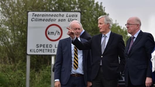 European Chief Brexit Negotiator Michel Barnier visits the Northern Irish border areas with Peter Sheridan of charity Co-operation Ireland in County Lough, March 2017. The issue of the Irish border has emerged as a major obstacle in Brexit negotiations between the EU and UK.