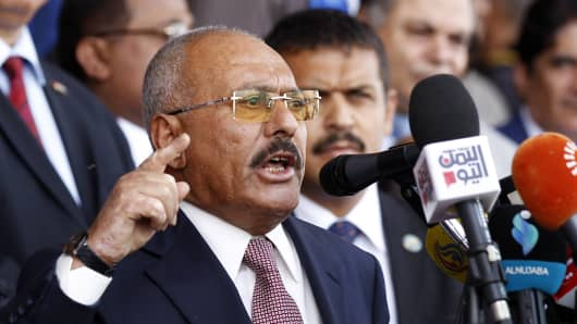 Yemen's ex-president Ali Abdullah Saleh gives a speech addressing his supporters during a rally as his General People's Congress party, marks 35 years since its founding, at Sabaeen Square in the capital Sanaa on August 24, 2017.