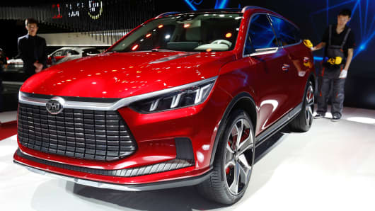 A BYD Concept car is displayed during the first day of the 17th Shanghai International Automobile Industry Exhibition in Shanghai on April 19, 2017.