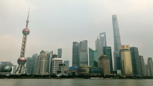 A view of the skyline in Shanghai, China.