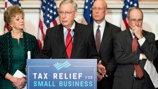 Senate Majority Leader Mitch McConnell, R-Ky., flanked by SBA Administrator Linda McMahon (left) and Sen. Jim Risch, R-Idaho, speaks at an event in the Capitol with small-business advocates to highlight the importance of tax reform to America's small businesses on Nov. 28, 2017.