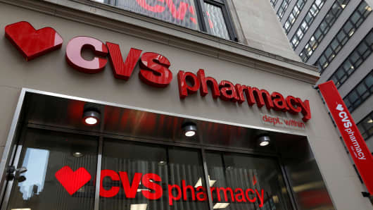 A CVS Pharmacy store is seen in the Manhattan borough of New York City, New York, U.S., November 30, 2017.