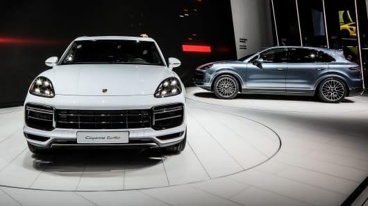 The Porsche Cayenne Turbo on display at the 2017 Frankfurt Auto Show.