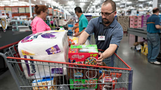 Shoppers at a Costco Wholesale store in East Peoria, Illinois.