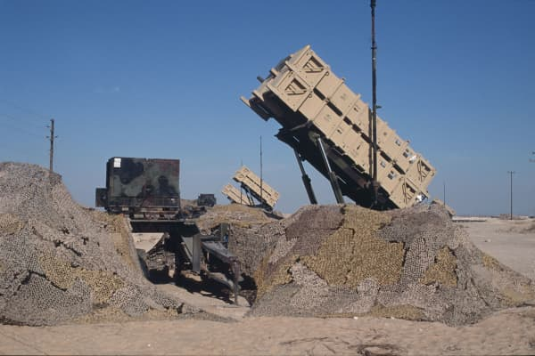 A file photo of cannisters containing Patriot missiles to intercept missiles fired at Saudi Arabia or its neighboring countries.