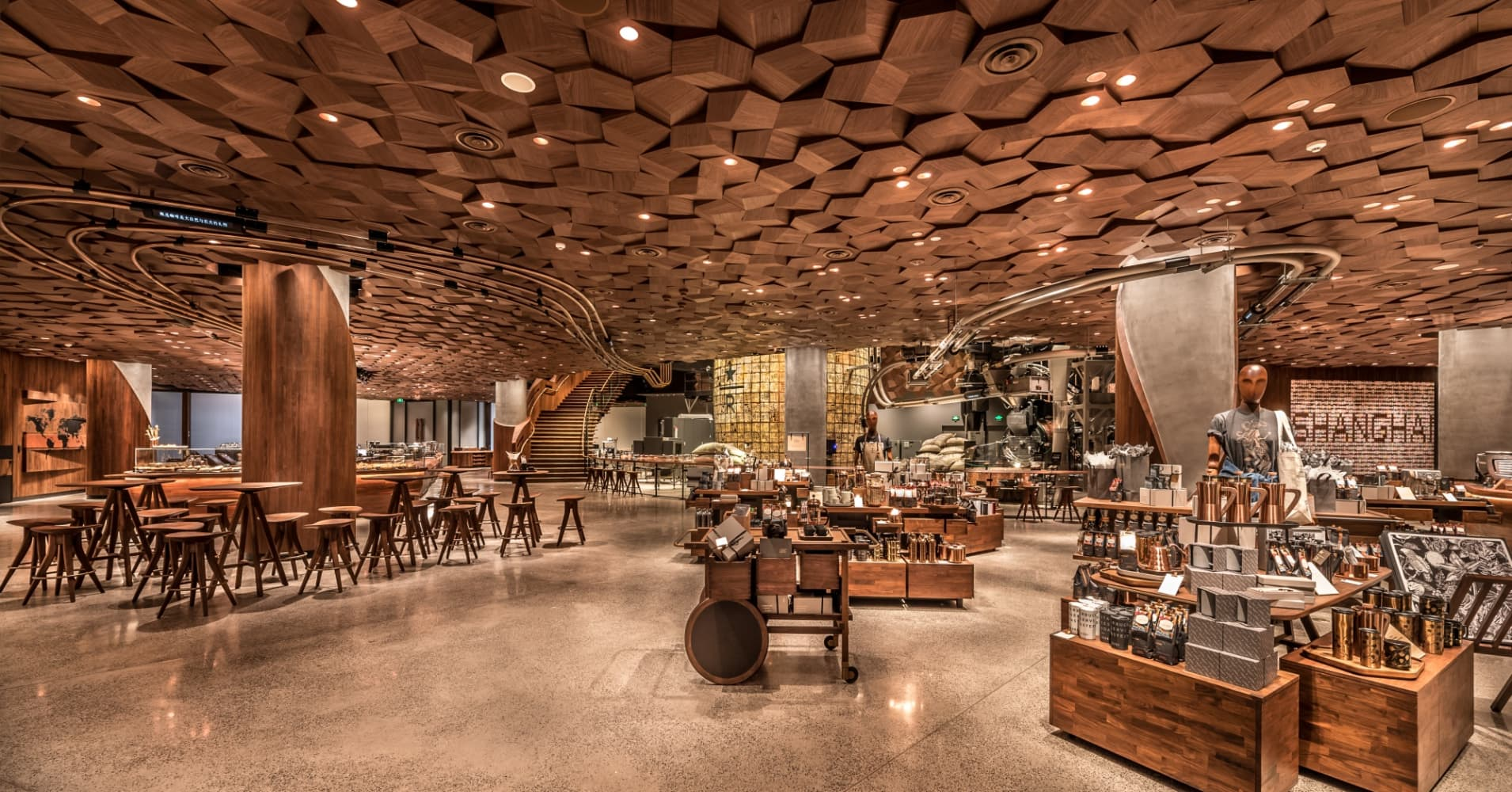 The interior of Starbucks' new Shanghai Roastery