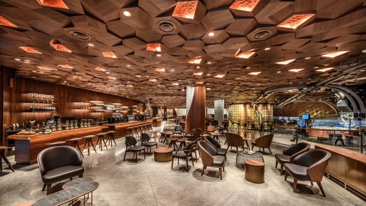 Seating inside Starbucks new Shanghai Roastery