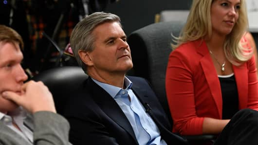 Steve Case, co-founder of AOL, listens to students as part of his Rise of the Rest tour on Oct. 04, 2016 in Denver, Colorado.