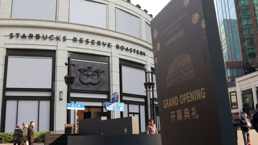 Exterior view of the new Starbucks Reserve Roastery in Shanghai, China.