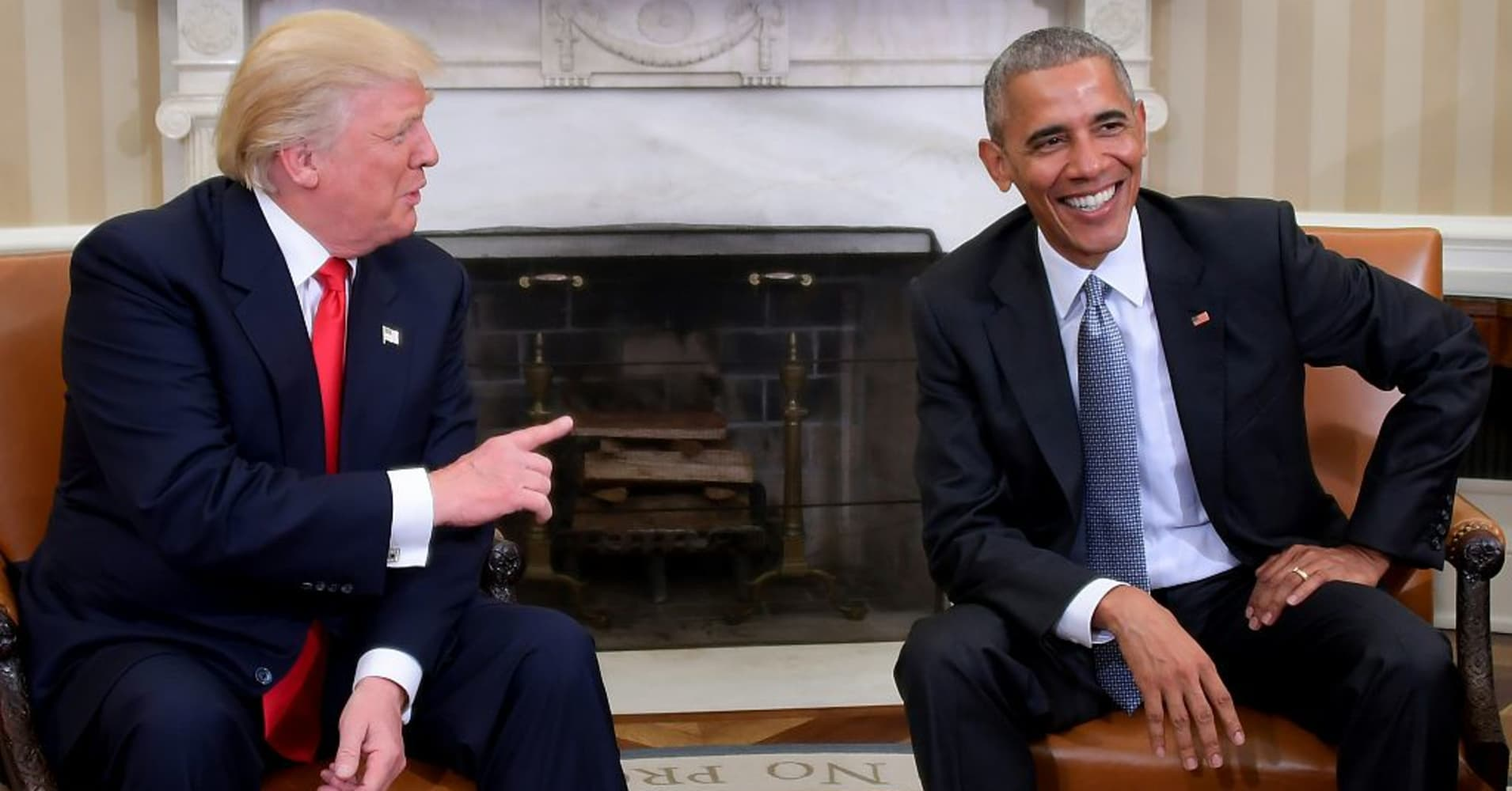 President Barack Obama meets with President-elect Donald Trump in the Oval Office at the White House on November 10, 2016 in Washington, DC.