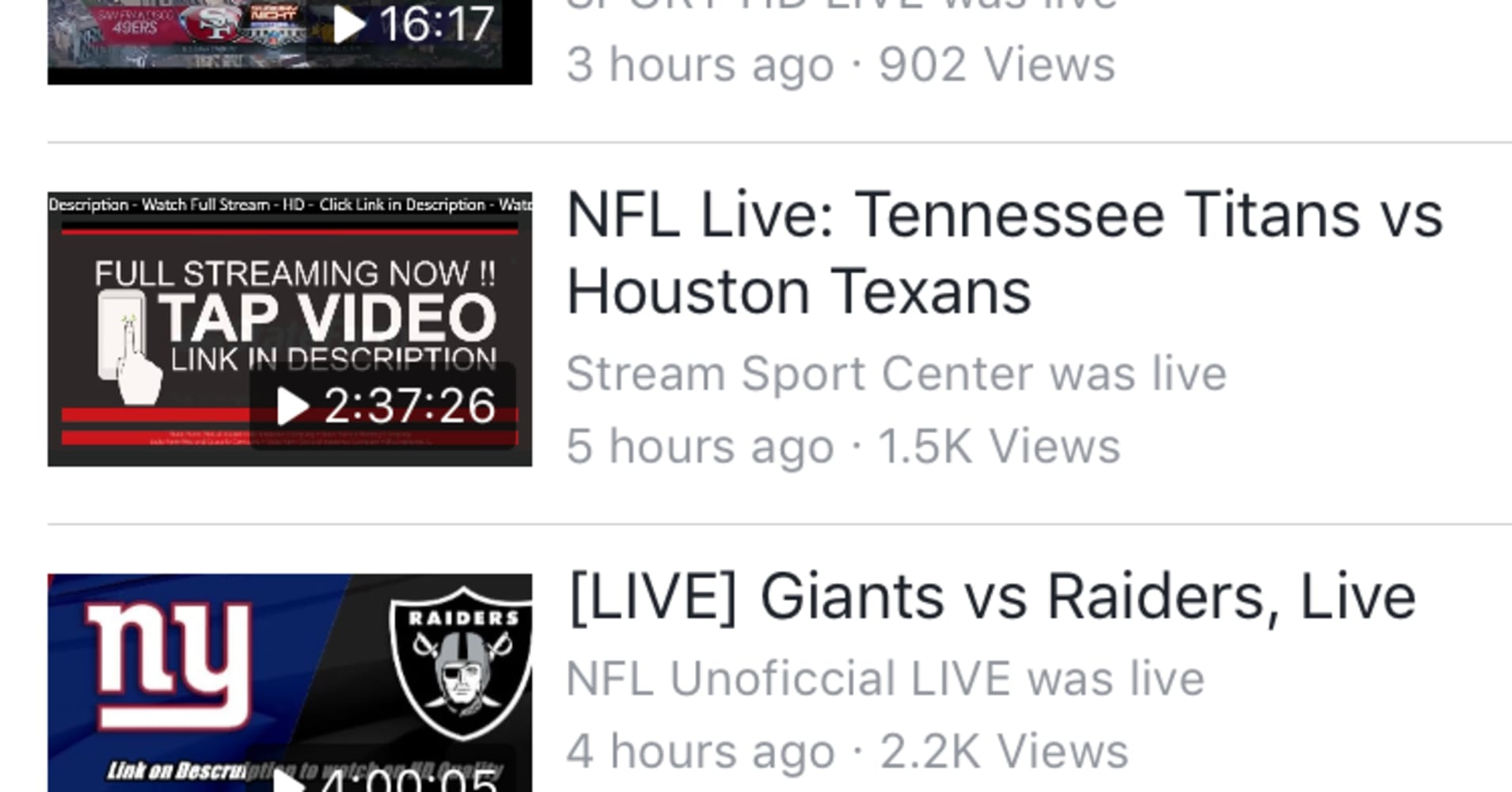 Facebook and YouTube are full of pirated video streams of live NFL games