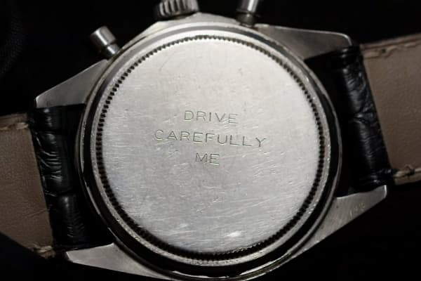 Newman's wife had the watch fitted with  a personalized inscription.