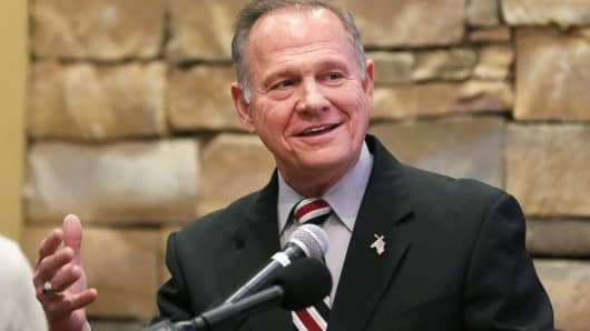 Judge Roy Moore speaks as he participates in the Mid-Alabama Republican Club's Veterans Day Program in Vestavia Hills, Alabama, November 11, 2017.