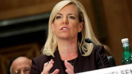 Kirstjen Nielsen testifies to the Senate Homeland Security and Governmental Affairs Committee on her nomination to be secretary of the Department of Homeland Security (DHS) in Washington, November 8, 2017.
