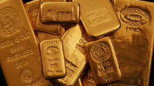 Gold bars seen at Gold Investments bullion dealers in London, U.K., on January 15, 2014.