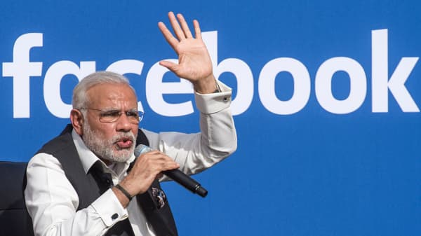 Narendra Modi, India's prime minister, at a town hall meeting at Facebook headquarters in Menlo Park, California, U.S., on Sept. 27, 2015.