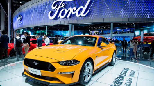 The Ford Mustang is displayed during the 17th Shanghai International Automobile Industry Exhibition in Shanghai.