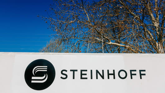 A Steinhoff International Holdings NV logo sits on display outside the company's offices in Stellenbosch South Africa on Wednesday Aug. 17 2016