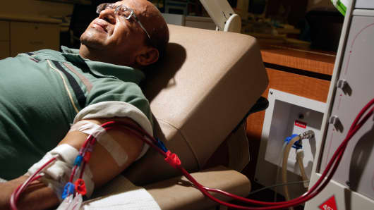 A patient gets dialysis at DaVita Dialysis Center in Inglewood.