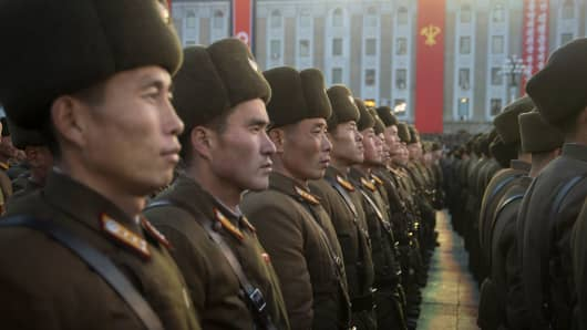 North Korean soldiers attend a mass rally to celebrate the North's declaration on November 29 it had achieved full nuclear statehood, on Kim Il-Sung Square in Pyongyang on December 1, 2017.