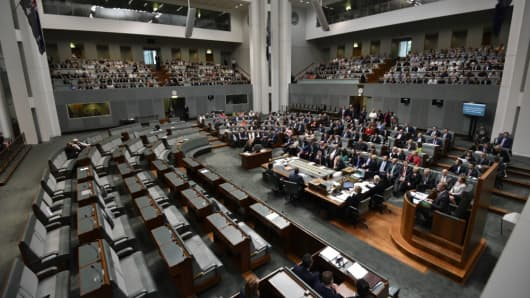 Members of Parliament voting on the marriage equlity bill at Parliament House on December 7, 2017 in Canberra, Australia