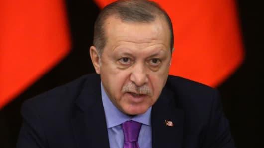 Turkish President Recep Tayyip Erdogan speaks during Russian-Turkish-Iranian talks at Black Sea resort of Sochi, Russia, November 22, 2017.