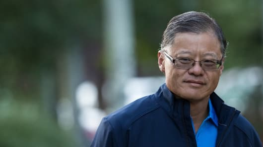 Jerry Yang, co-founder and former chief executive officer of Yahoo!, arrives for the third day of the annual Allen & Company Sun Valley Conference, July 13, 2017 in Sun Valley, Idaho.