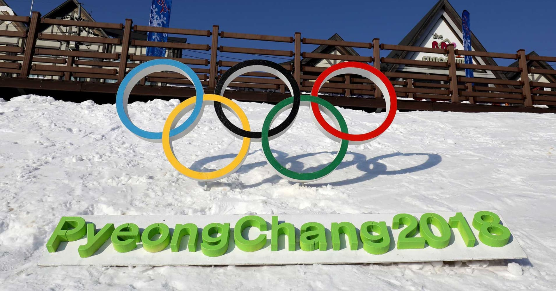 The Olympic rings is seen in Hoenggye town, near the venue for the Opening and Closing ceremony ahead of PyeongChang 2018 Winter Olympic Games in Pyeongchang-gun, South Korea.